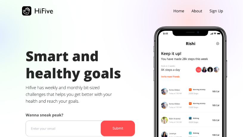 Started working on the landing page design : HiFive : onerinas