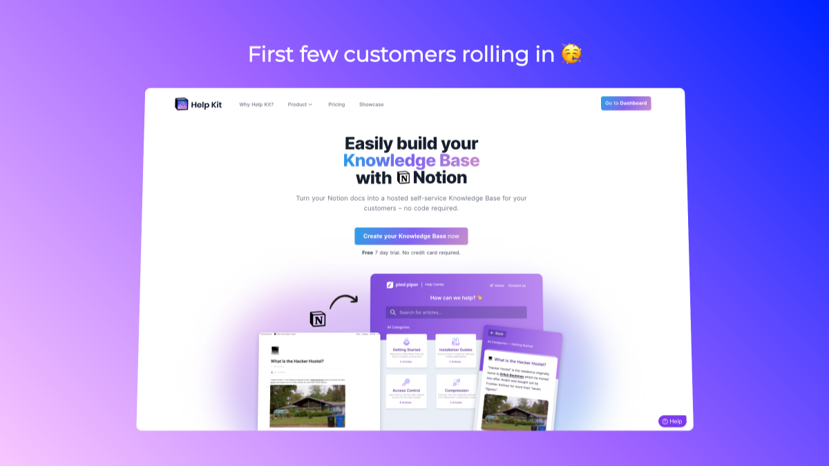 🥳 First customers rolling in and early marketing efforts showing results : HelpKit : sobedominik