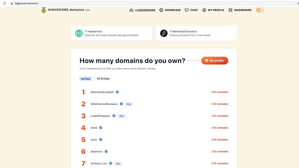 New verified entry with 381 domains 🤩 : HIGHSCORE.domains : onerinas